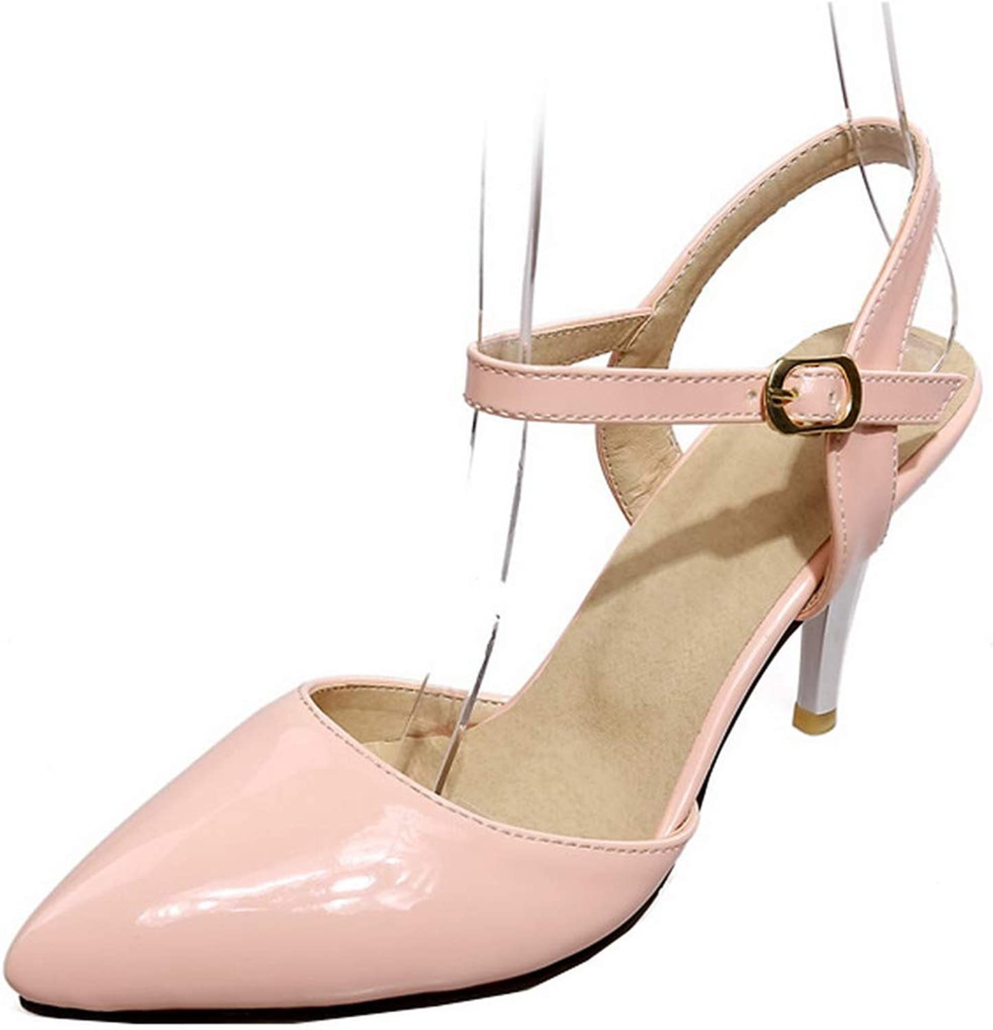 WeenFashion Women's Pointed Closed Toe Buckle Patent Leather Solid Pumps-shoes,AMGDX007139