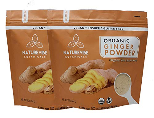 Naturevibe Botanicals Organic Ginger Root Powder-2 lbs (2 pack of 1lbs each), Zingiber officinale Roscoe | Non-GMO verified, Gluten Free and Keto Friendly [Packaging may Vary]