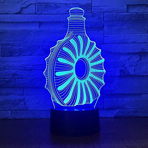 Lámpara 3D Led Lámpara De Mesa Luces Botella De Vino 7 Colores Cambio De Botón Táctil Y Cable Usb Navidad Cumpleaños Regalo
