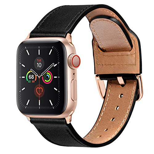 MARGE PLUS Compatible with Apple Watch Band 38mm 40mm 42mm 44mm, Genuine Leather Watch Strap Replacement for iWatch Series 5 4 3 2 1, (Black Band with Rose Gold Adapter, 38mm 40mm)