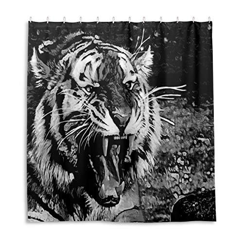Badezimmer Duschvorhang Tiger Brüllzahn Zähne Tier Duschvorhänge Durable Stoff Badvorhang Wasserdicht Badezimmer Vorhang mit 12 Haken