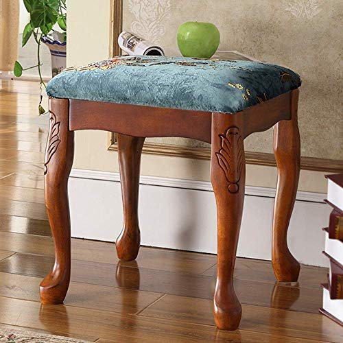PIVFEDQX Piano Stool American Style Solid Wood Piano Bench Piano Keyboard Bench Dressing Table Manicure Chair Comfortable Seating Experience (Color : Blue, Size : 38x38x42cm)