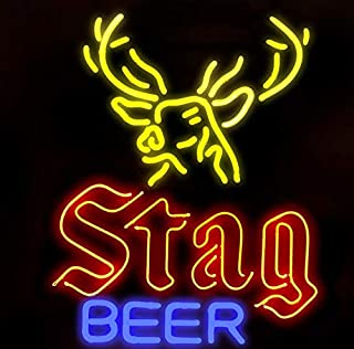 Christmas Gift Neon Signs Stag Beer Real Glass Beer Bar Pub Store Party Decor Neon Light 19x15