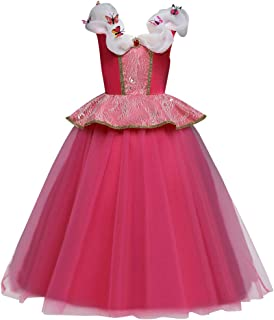 Girls' Princess Aurora Costume Fancy Holiday Dress Halloween for Kids Birthday Sleeping Beauty Dance Gown