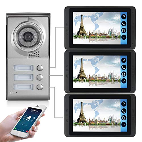 WiFi Video Türsprechanlage, 3 Familienhaus Set, Handy-App, 3x7 Monitor mit Touchscreen, Tür-Öffner-Fkt, Foto-/Video-Speicher, Unterputz Türstation, 92° Kamera,Model: 618MC13