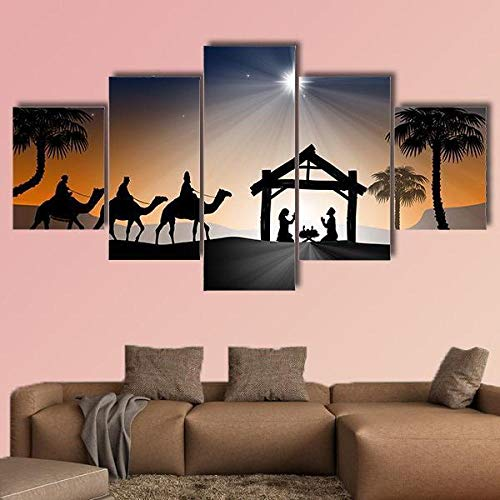 5 Piece Canvas Wall Art Christian Christmas Nativity Scene Canvas Prints Artwork 5 Panels Canvas Pictures Extra Large Canvas Personalised Canvas Wall Canvas For Bedroom Framed Prints(150 * 80cm)