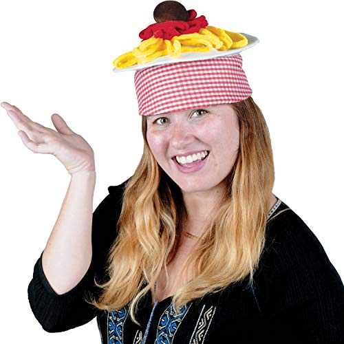 """Beistle Club Pack of 12 Italian Red and White Checkered Spaghetti and Meatball Plush Hat 8"""""""