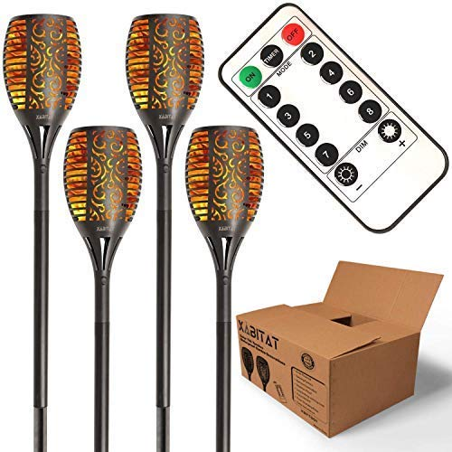 Xabitat Solar Tiki Torches with Flickering Flame 43 Inch - Remote Controlled Solar Dancing Flame Lights Auto ON/Off - LED Waterproof Outdoor Lighting - Patio and Pathway Decor - 4 Pack
