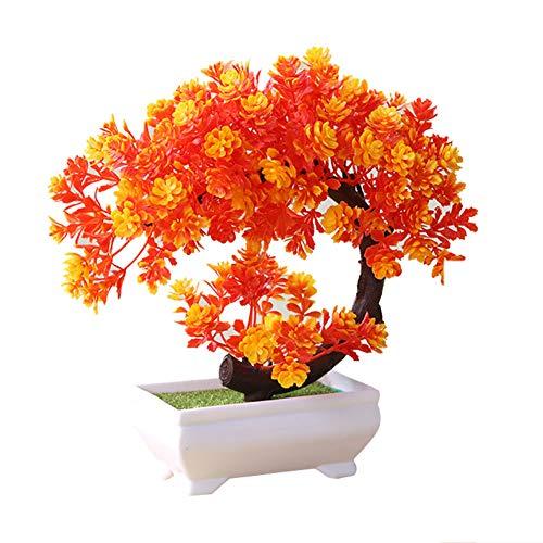 Artily Künstliche Pflanze in Topf-Kunststoff, Kunstpflanzen, Bonsai für drinnen und draußen zu Hause, Garten, Dekoration, Geschenk, Plastik, Orange, 19 * 19cm