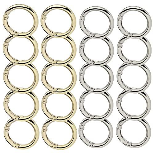 20 pezzi Moschettoni per borse oro Argento anello a molla in lega di zinco leggero ad alta resistenza e forte resistenza alla corrosione utilizzato per la produzione artigianale di borse a tracolla