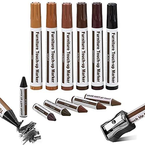 Möbelkorrekturstift Reparaturstifte Set für zerkratzte Holzböden, Möbel, Tische, 6 Reparaturmarkierungen und 6 Füllstifte mit Spitzer Möbelmarker