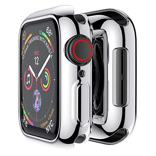 Apple Watch カバー 44mm ケース メッキ TPU 側面保護 耐衝撃 アップルウォッチ カバー シリーズ 4 / シリーズ 5 柔軟四辺簿脱着簡単傷付きプロテクターバンパー Apple iWatch Case Series 5 / 4 (44mm, 銀)