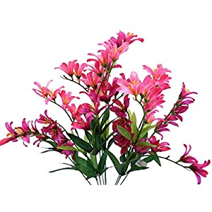 21″ Bouquet Beauty Freesia Bush 9 Artificial Silk Flowers LivePlant