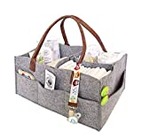 Baby Diaper Caddy - Nursery Diaper Tote Bag - Large Portable Car Travel Organizer - Boy Girl Diaper Storage Bin for Changing Table - Baby Shower Gift Basket - Newborn Registry Must-Haves