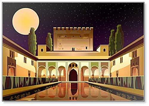 Hof der Myrtles in La Alhambra Palace bei Nacht Granada Spanien Kühlschrankmagnet