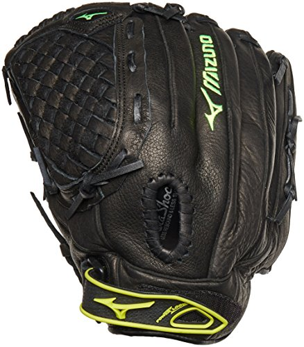 Mizuno GPL1250F1 Prospect Fastpitch Series Right Handed Throw Youth Softball Mitt, Black, 12.50-Inch