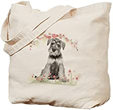 Schnauzer Flowers - Cotton Canvas Shopping Bag, Tote Bag designed by WenNuNa