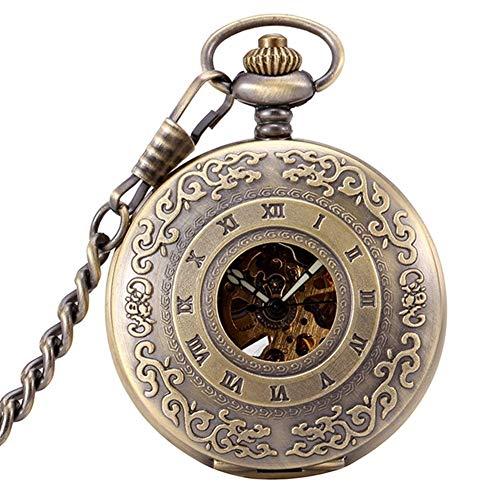 CDPC Reloj de Bolsillo, Reloj clásico para Hombre, Caja con patrón clásico, Esqueleto mecánico con números Romanos.(Color: 1)