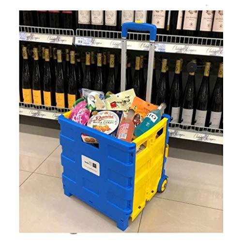 Carro del equipaje de la carretilla, carro de compras de plegable portátil del carrito de compras del equipaje Carrito de compras del hogar Caja de almacenamiento del automóvil del hogar G1 (Color: C,