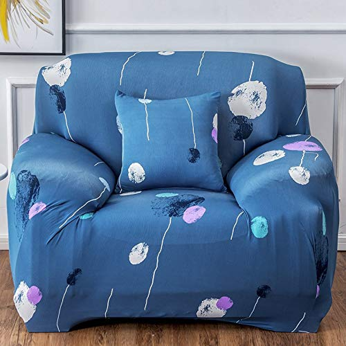 Universelle All-Inclusive-Stretch-Anti-Rutsch-Blue-Impression-V-Serie für vier Personen von 235 bis 300 cm,Sofa überwürfe Jacquard Sofabezug Elastische Stretch Spandex Couchbezug Sofahusse Sofa Abdec