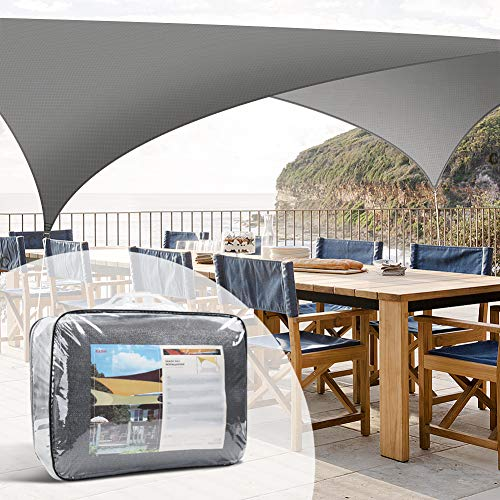 Levesolls Sonnensegel Sonnenschutz Rechteck 4 x 3 Meter wetterbeständig HDPE UV-Schutz Wetterschutz für Garten und Balkon Grau