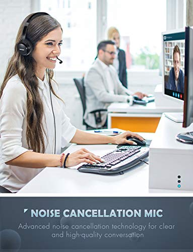 MpowUSBヘッドセット/マイク付き3.5MMコンピュータヘッドセットノイズキャンセリング、軽量PCヘッドセット有線ヘッドフォン、ビジネスヘッドセットforSkype、ウェビナー、電話、コールセンターSブラックFBA_PAMPPA071AB-USSA1-PTX