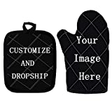 WELLFLYHOM Custom Heat Resistant Oven Mitts and Pot Holders Sets 2 Pcs, Customized Pattern/Imgae Non Slip Oven Mitt Set for Kitchen Cooking Baking Grilling, Personalized Glove and Mat