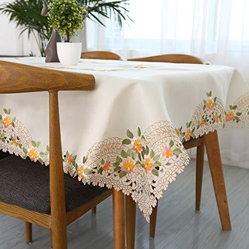 ZWBBO tovaglie Tovaglia Ricamata in Lino di Cotone a Mano all'Uncinetto in Pizzo Orlo tovaglia Lavabile per Tavolo da tè copritavolo Tessile per la casa-130x180cm