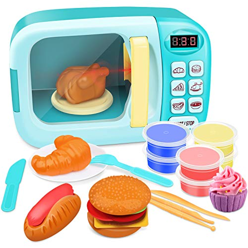 GrowthPic Toy Kitchen Microwave Play Set, Kids Electronic Pretend Play Oven Toy Microwave Set with Play Food and Play Dough for Toddler Boys Girls and 2 3 4 5 6 Years Old