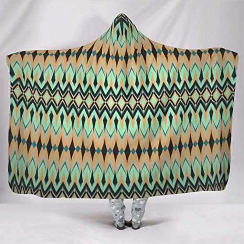 Fineiwillgo Manta con capucha azteca, de rejilla de diamante, supersuave, con capucha, para adolescentes, sofá o sillón de salón, color blanco, 130 x 150 cm