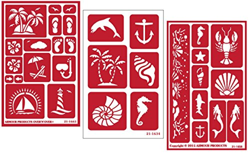 3 Armour Etch Over N Over Reusable Glass Etching Stencils Set | Nautical Theme | Paradise, Seashore,...