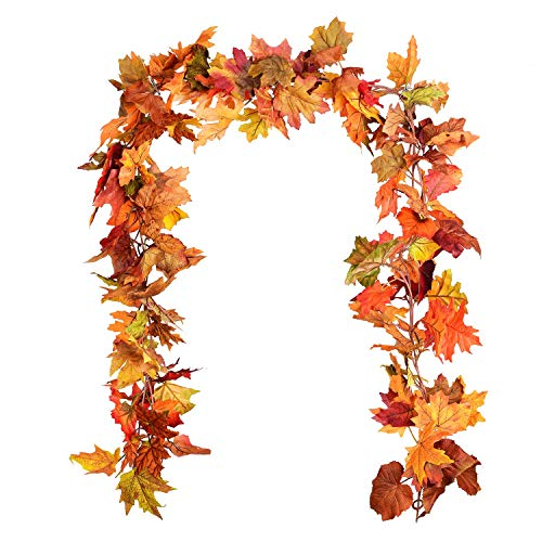 YQing 2 Pack Artificial Maple Leaf Garlands, 5.9 ft/Piece Autumn Hanging Fall Leave Vines for Indoor Outdoor Wedding Thanksgiving Dinner Party Fireplace Christmas Decor