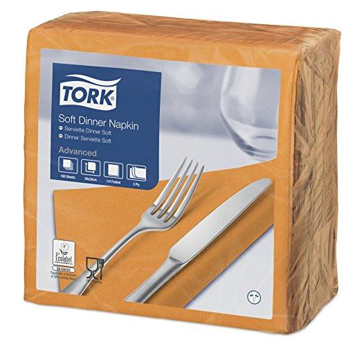 Tork 477913 Soft dinerservetten oranje/papieren servetten 3-laags/ideale kwaliteit en grootte voor een diner/geavanceerde kwaliteit / 12 x 100 (1200) servetten / 39 x 39 cm (B x L)