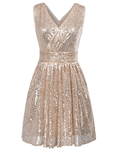 Kate Kasin Damen Ballkleid Abiballkleid Swing Kleid, Champagner, 36