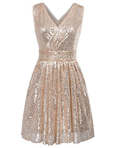 Kate Kasin Damen Partykleid Braut Kleid Sommerkleid Pailletten Trägerkleid Kleid Glitzer Party Kleider Champagner 42