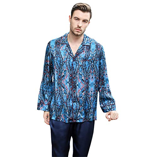 qazxsw Pyjamas Heavy Silk Pyjamas Herren Langarm Bedruckte Seidenraupenseide Home...