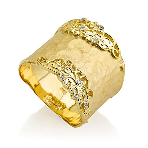 14K Yellow Gold 0.06ct TDW Diamond Accent Filigree Cigar Ring (0.06 Ct Tdw Diamond)