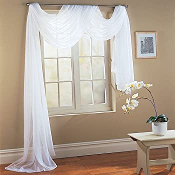Luxury Discounts Beautiful Elegant Solid Sheer Scarf Valance Topper Long Window Treatment Scarves  55  x 216  - Scarf White