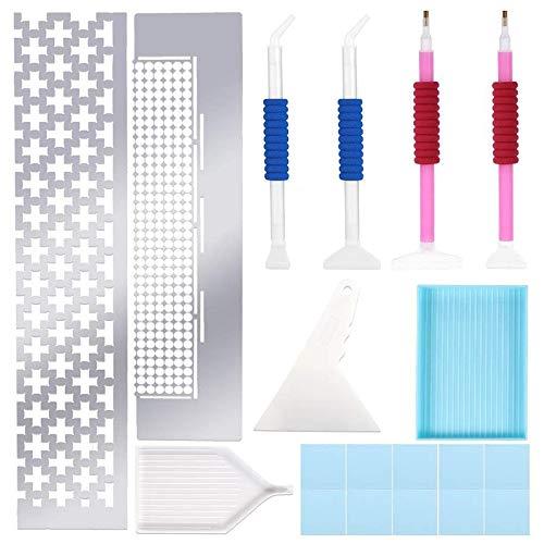 Heritan 20 unidades de herramienta de pintura de diamante para pintura de diamante, regla cuadrada de malla con herramienta de reparación de bolígrafo para manualidades de bricolaje