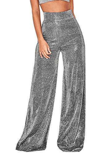 Velius Women's Sexy Metallic Sparkly Wide Leg Pants Trousers Clubwear (Large, Black) …