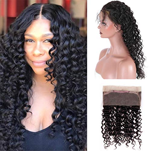 Deep Curly 360 Lace Frontal Brazilian Deep Wave Human Hair Free Part Pre-plucked Closure Swiss Lace Remy Hair 1Piece 10-20inch (20inch, natural color)
