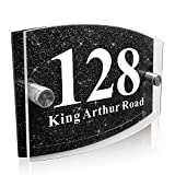 Modern House Sign Plaque Door Number Name Road Plaque Personalised Glass Effect Acrylic Glitter Sign (Black Glitter)
