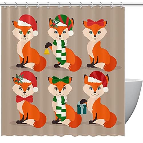 Niedliche weihnachtliche festliche Füchse Duschvorhänge für Badezimmer – geruchloser Vorhang für Badezimmer Duschen & Badewannen, 183 x 183 cm, 12 Haken im Lieferumfang enthalten
