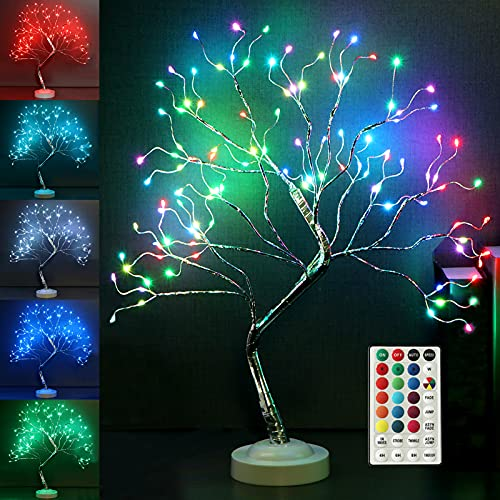 """Fashionlite Tabletop Bonsai Tree 18 Colors Changing 20"""" 108 LED Firefly Tree with Multifunctional Remote, Artificial Decorative Table Lamp with Colorful Light, Desk Tree for Home Party Wedding Bedroom"""