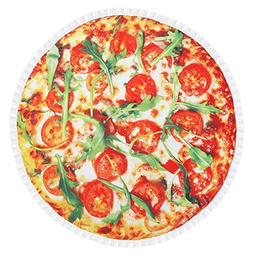 QYX Pizza Toalla De Playa Redonda De 150x150cm con Diseño De Comida Divertida Tapiz Grande a Prueba De Arena Manta Absorbente para Picnic Adecuada para Viajes En La Playa Niños y Adultos
