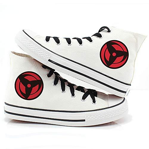 JPTYJ Uzumaki Naruto Uchiha Sasuke/Sharingan High Top Graffiti Unisex High Top Zapatos Anime Casual Shoes Estudiantes Canvas Shoes Sneakers C-40