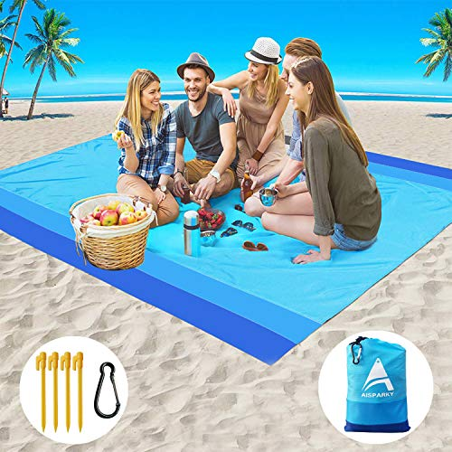 "AISPARKY Beach Blanket, Beach Mat Outdoor Picnic Blanket Large Sandproof Compact for 4-7 Persons Water Proof and Quick Drying Beach Mat Picnic Sheet for Outdoor Travel (78"" X 81"")"