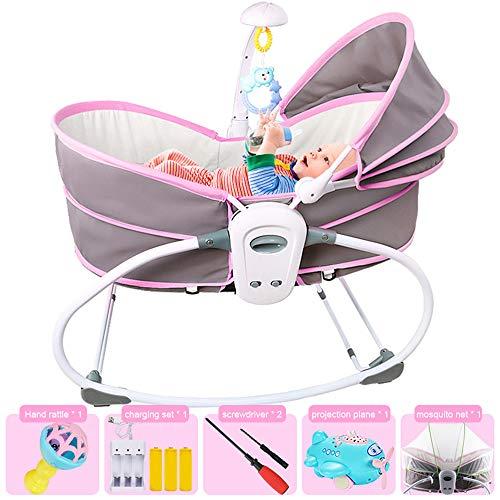 LYN&xxx Baby-Schaukel Und Stuhl, Klapp mit abnehmbarem Spielzeug-Stab Liegeposition Verstellbarer Rückenlehne Moskitonetz Harness für Neugeborene Babys Kleinkinder,Lila