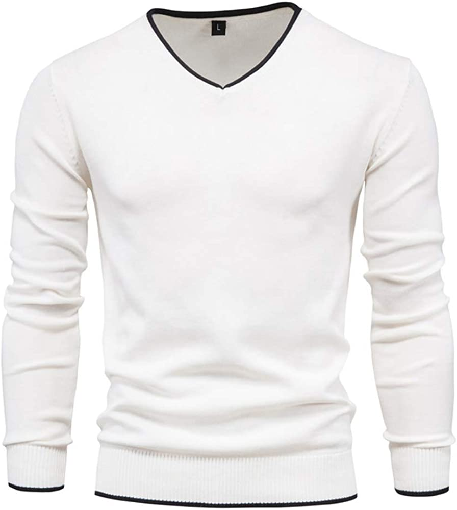 Men's Cotton V Neck Sweater Knitted Jumper Sweater Long Sleeve Pullover Top