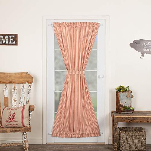 VHC Brands Sawyer Mill Red Ticking Stripe 72x40 Door Panel